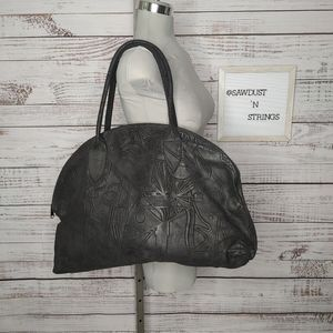 Amazing abstract embossed suede bag